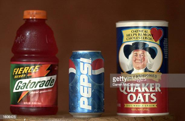 Can of Pepsi is shown in front of a box of Quaker Oats and a bottle of Gatorade August 2, 2001 in Boston MA. The Federal Trade Commission Wednesday...