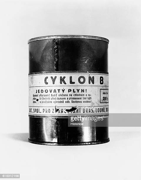 A can of poison gas taken at Mauthausen Austria the site of a concentration camp The can was evidence submitted by American Prosecution at Nuremberg...