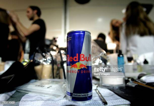 Can of Red Bull sits backstage whilst hairdressers work at London Fashion Week in the BFC tent on February 13, 2007 in London England