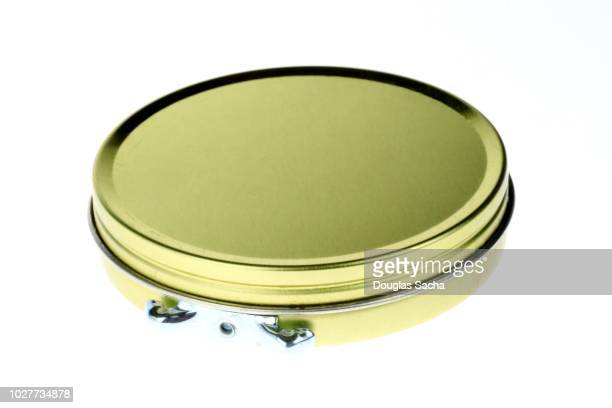 Can of shoe polish on a white background