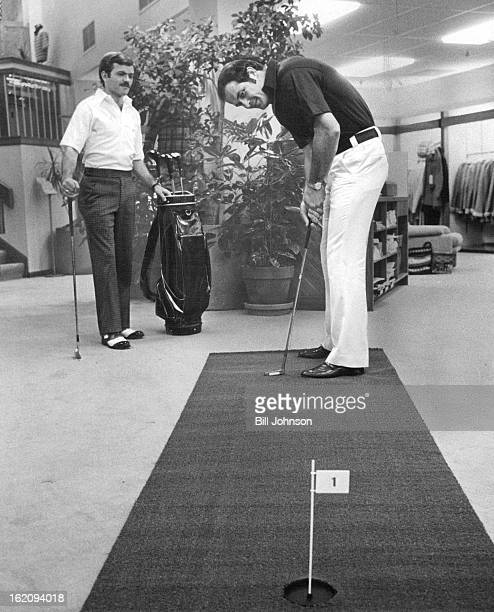 AUG 14 1975 AUG 18 1975 Can you beat Judy Rankin in a putting contest Models wear Hathaway's Golden Bear shirts tailored for Jack Nicklaus at a warm...