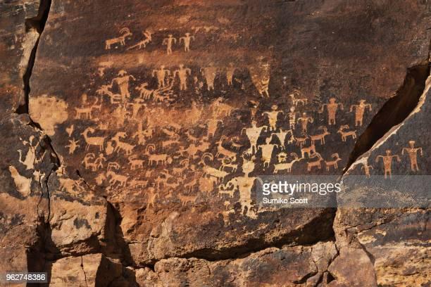 Canaan Gap petroglyphs - ancient native american rock art in Utah desert