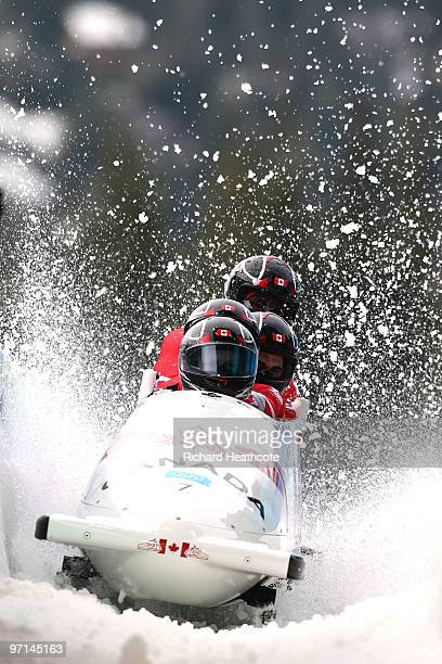 Canada 1 completes heat 4 to win the bronze medal during the men's four man bobsleigh on day 16 of the 2010 Vancouver Winter Olympics at the Whistler...