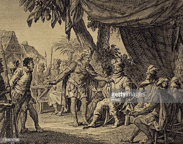 Canada 17th century Congress of peace between some Indian nations of Canada chaired by a French governor and an Iroquois representative on a...