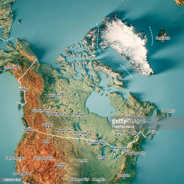 canada 3d render topographic map border cities - frank ramspott stock pictures, royalty-free photos & images