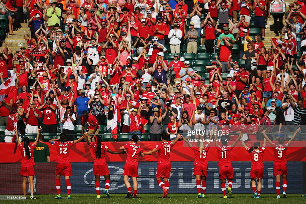 Canada acknowledges their fans following their 1-0 win over China PR during the FIFA Women's World Cup Canada 2015 Group A match at Commonwealth Stadium on June 6, 2015 in Edmonton, Alberta, Canada. Canada defeat China PR