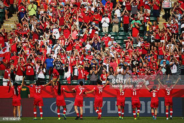 Canada acknowledges their fans following their 10 win over China PR during the FIFA Women's World Cup Canada 2015 Group A match at Commonwealth...
