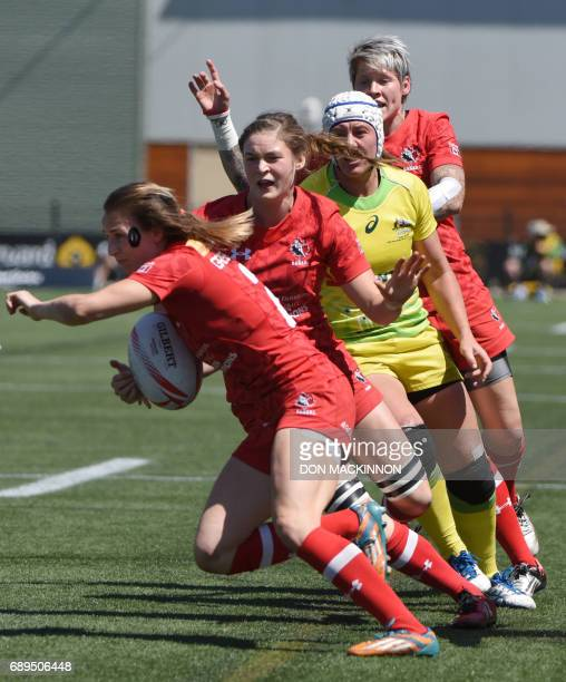 Canada against Australia on day two of HSBC Canada Women's Sevens Rugby action at Westhills Stadium in Langford Canada May 28 2017 / AFP PHOTO / Don...