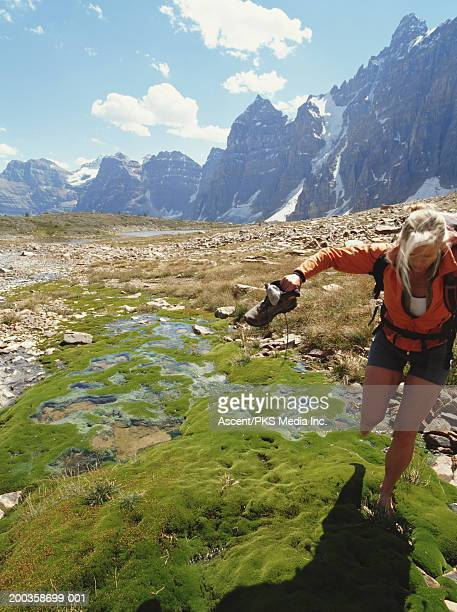 Canada, Alberta, Banff NP, woman hiking in Moraine Lake Area