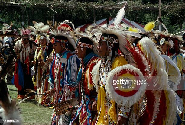 Canada Alberta Edmonton Blackfoot Native American Indians and other plains Indians wearing full regalia at Pow Wow outside Edmonton