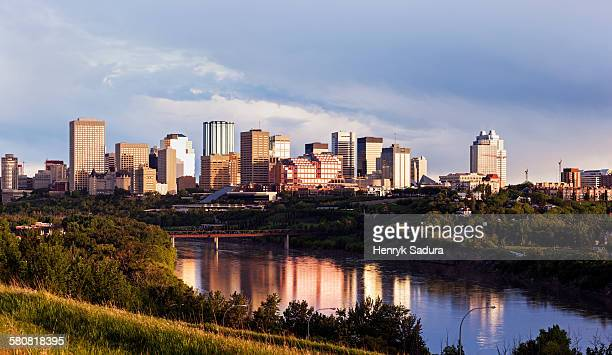 Canada, Alberta, Edmonton, City skyline at sunrise