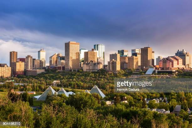 canada, alberta, edmonton, cityscape with trees in foreground - edmonton stock pictures, royalty-free photos & images