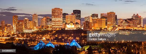Canada, Alberta, Edmonton, Illuminated cityscape at dusk