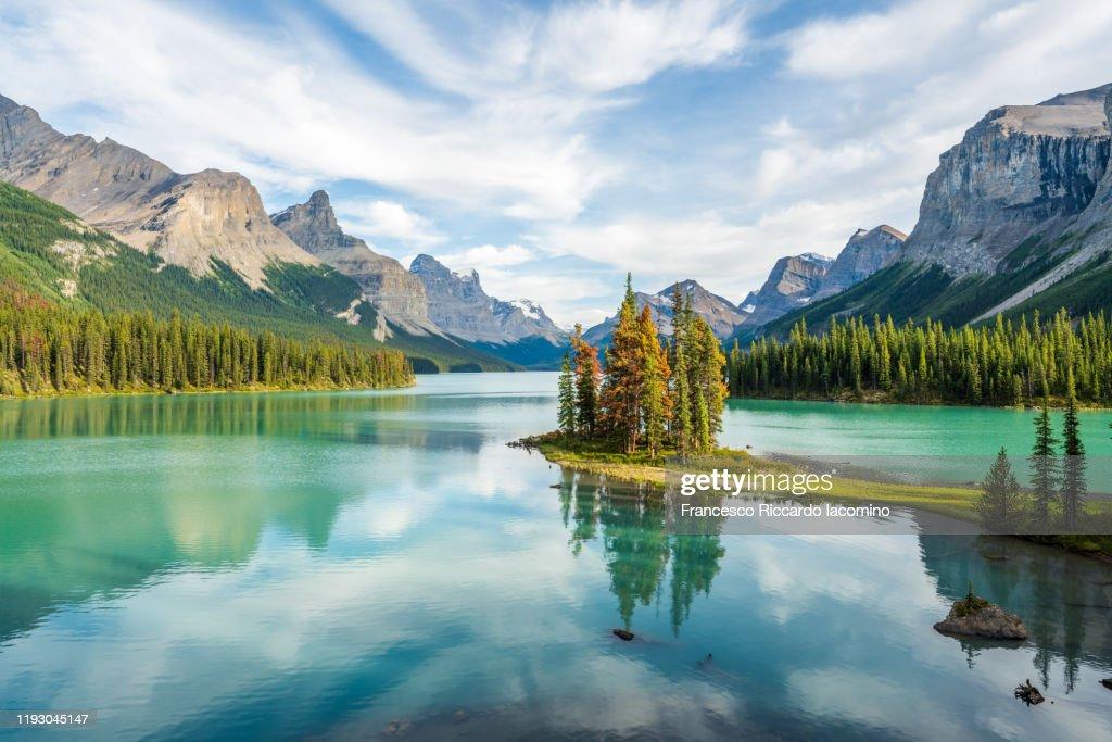 Canada, Alberta, Jasper National Park, Maligne Lake and Spirit Island : Foto stock