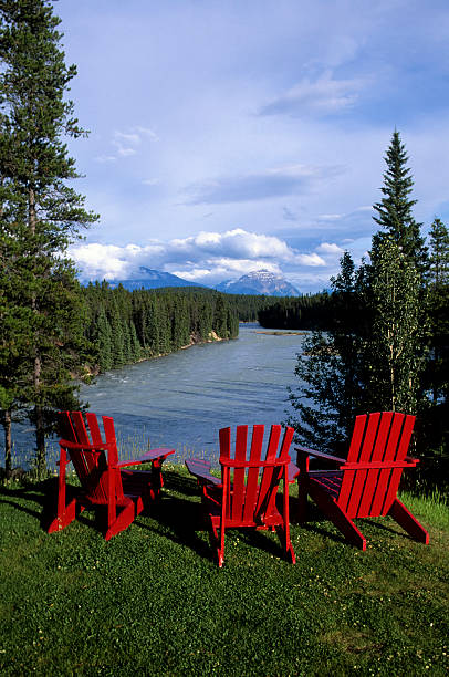 canada alberta jasper national park red chairs athabasca