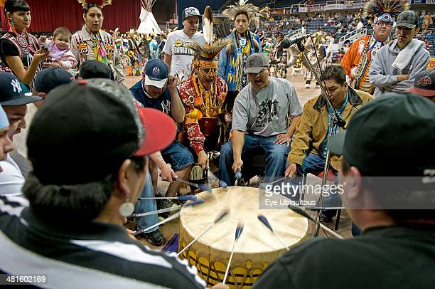 Canada Alberta Lethbridge International Peace Pow Wow Drumming and singing group