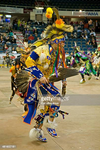 Canada Alberta Lethbridge International Peace Pow Wow Hidatsa or Gros Ventre Indian from North Dakota in the Prairie Chicken Dance competition...