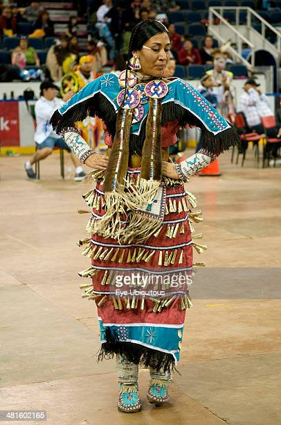 Canada Alberta Lethbridge International Peace Pow Wow North American Indian in Ladies Jingle Dance competition