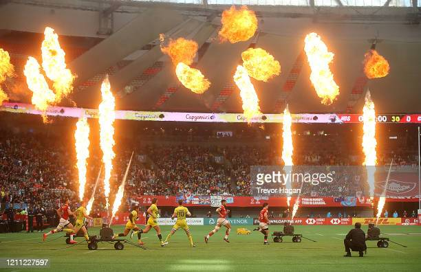 Canada and Australia take to the pitch to begin their semi final match during rugby sevens at BC Place on March 08, 2020 in Vancouver, Canada.