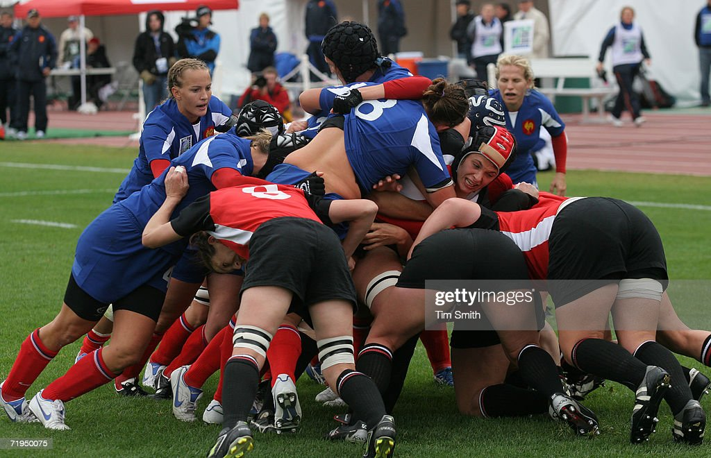 Canada and France scrum for the ball during day six of the Women's Rugby World Cup 2006 at Commonwealth Stadium on September 17, 2006 in Edmonton, Alberta, Canada. France defeated Canada by a score of 17-8.
