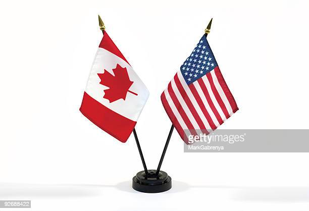 Canada and USA flags isolated