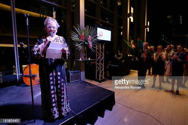 Canada Board member Jacquie Green spekas onstage at the FINCA Canada Fundraiser At TIFF 2012 during the Toronto International Film Festival on...