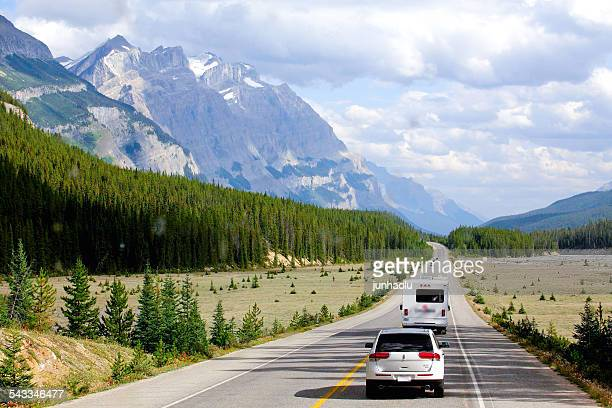 canada, british columbia, cars on trans canada highway - two lane highway stock pictures, royalty-free photos & images