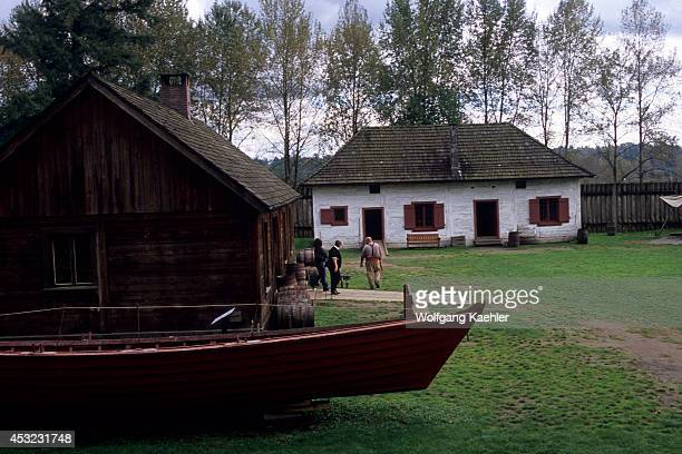 Canada British Columbia Fort Langley Boat With Cooperage Storehouse