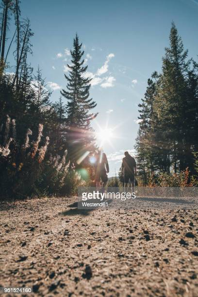 canada, british columbia, kelowna, myra canyon, hikers on kettle valley rail trail - kelowna stock pictures, royalty-free photos & images