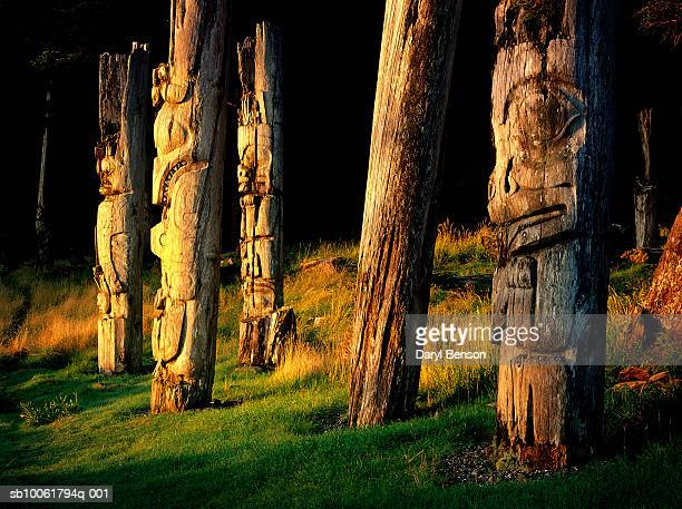 Canada, British Columbia, Queen Charlotte Islands, Gwaii Haanas National Park, Anthoney Island, totems in Ninstints (Skung Gwaii) village at sunrise