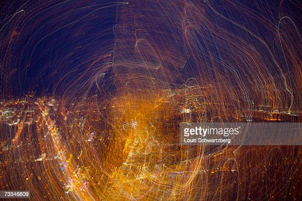 Canada, British Columbia, Vancouver, cityscape at night, aerial view