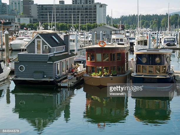 Canada, British Columbia, Vancouver, Harbour with house boats