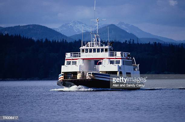 canada, british columbia, vancouver island, ferry crossing water - ferry stock pictures, royalty-free photos & images