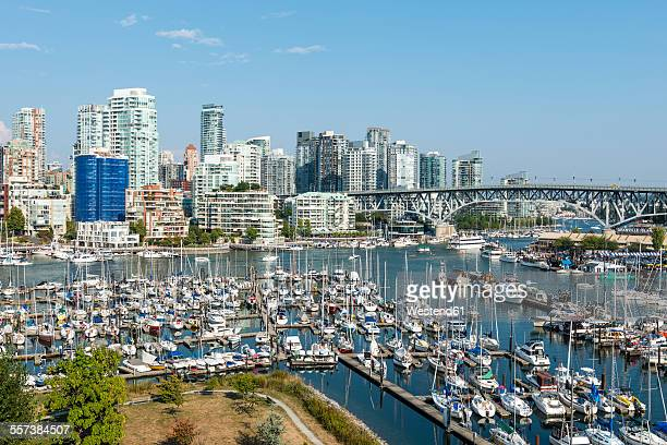 canada, british columbia, vancouver, skyline with granville street bridge and false creek - 2015 stock pictures, royalty-free photos & images