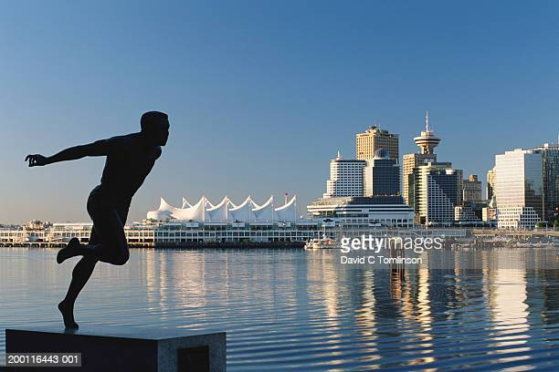 Canada, British Columbia, Vancouver, waterfront statue of Harry Jerome