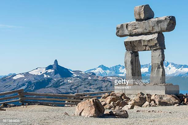 Canada, British Columbia, Whistler, Inuksuk on Whistler Mountain with Black Tusk in background