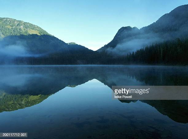 canada, british columbia, whistler, madely lake, cover with fog - tranquil scene stock pictures, royalty-free photos & images