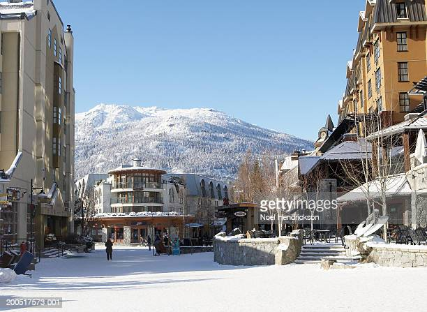 canada, british columbia, whistler, snow-covered street scene - whistler british columbia stock pictures, royalty-free photos & images