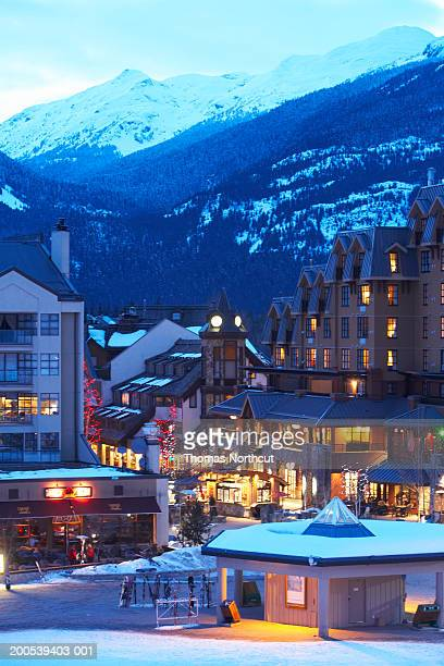 canada, british columbia, whistler village and mountains - whistler british columbia stock pictures, royalty-free photos & images
