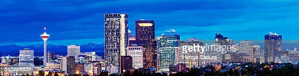 Canada, Calgary, Panoramic view of city at dusk