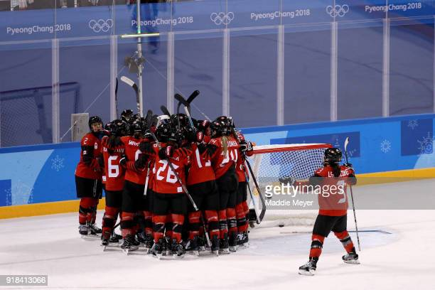 Canada celebrate after defeating the United States 21 during the Women's Ice Hockey Preliminary Round Group A game on day six of the PyeongChang 2018...