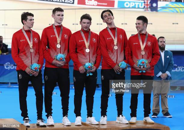 Canada celebrate bronze in the Men's 4000m Team Pursuit during the Cycling on day one of the Gold Coast 2018 Commonwealth Games at Anna Meares...