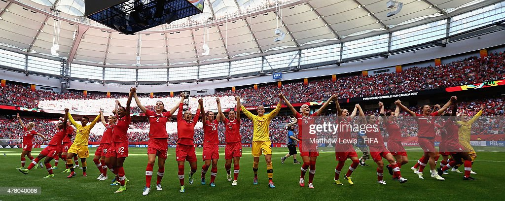 Canada celebrate their win over Switzerland after the FIFA Women's World Cup 2015 Round of 16 match between Canada and Switzerland at BC Place Stadium on June 21, 2015 in Vancouver, Canada.