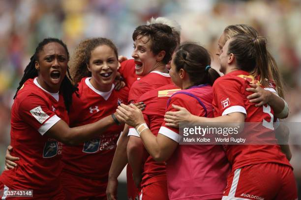 Canada celebrate victory during the womens cup semi final match between Australia and Canada in the 2017 HSBC Sydney Sevens at Allianz Stadium on...