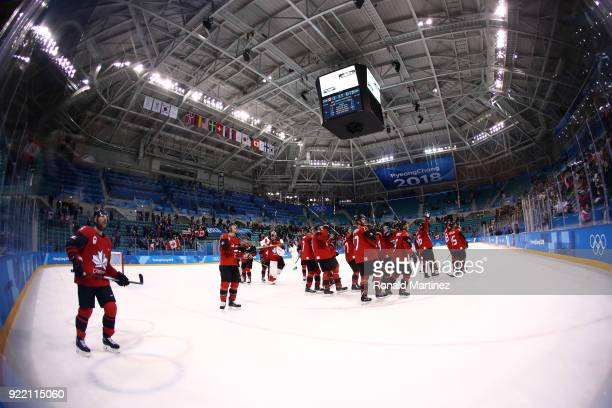 Canada celebrates defeating Finland 10 during the Men's Playoffs Quarterfinals on day twelve of the PyeongChang 2018 Winter Olympic Games at...