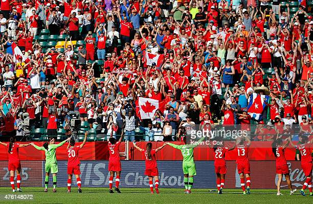 Canada celebrates their 10 win over China PR after the FIFA Women's World Cup Canada 2015 Group A match between Canada and China PR at Commonwealth...