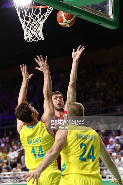 Canada center Erik Nissen shoots during the Men's Gold Medal Basketball Game between Australia and Canada on day 11 of the Gold Coast 2018...