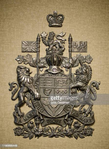 canada coat of arms - coat of arms stock pictures, royalty-free photos & images