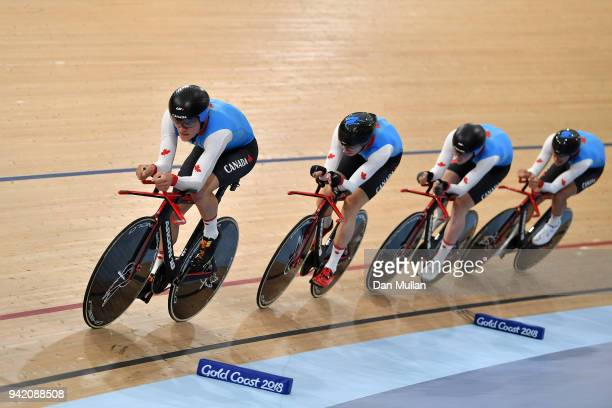 Canada compete in the Cycling Track Men's 4000m Team Pursuit on day one of the Gold Coast 2018 Commonwealth Games at the Anna Meares Velodrome on...