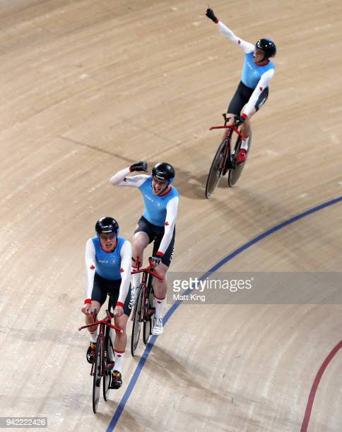 Canada compete in the Men's 4000m Team Pursuit Final during the Cycling on day one of the Gold Coast 2018 Commonwealth Games at Anna Meares Velodrome...